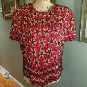 Adrianna Papell Boutique silk beaded top